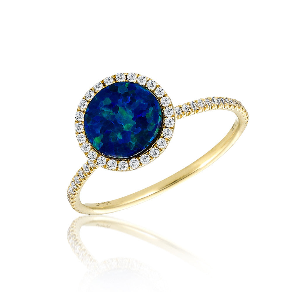 Meira T Australian Opal Gold Ring With Diamonds Meira T Boutique