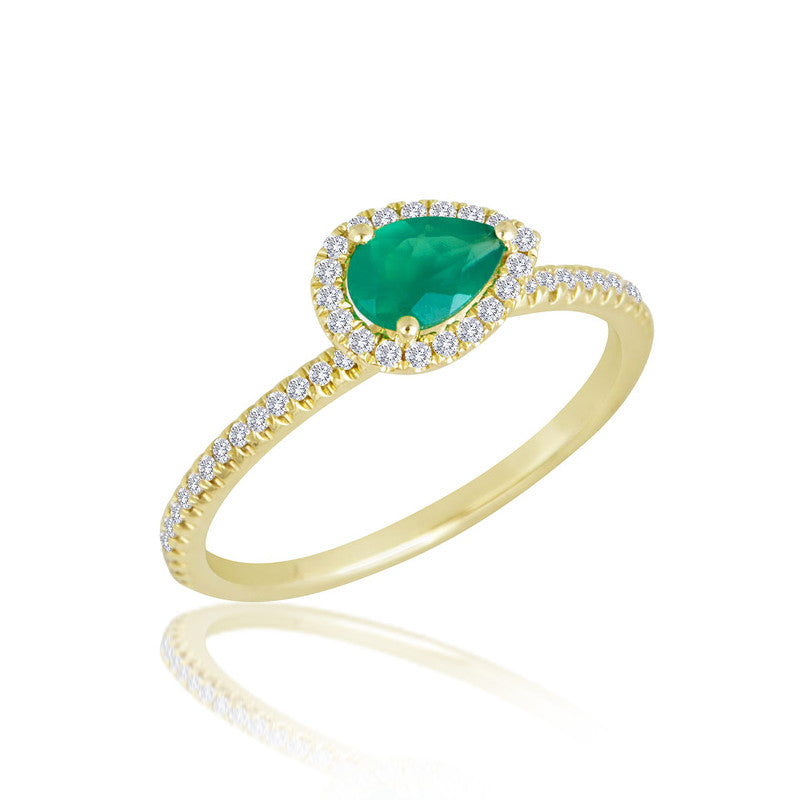 Gold and Emerald Teardrop Ring