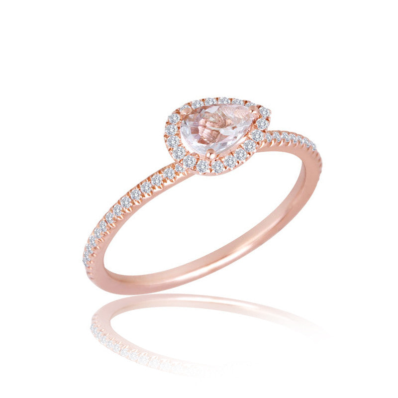 rose gold teardrop white topaz ring