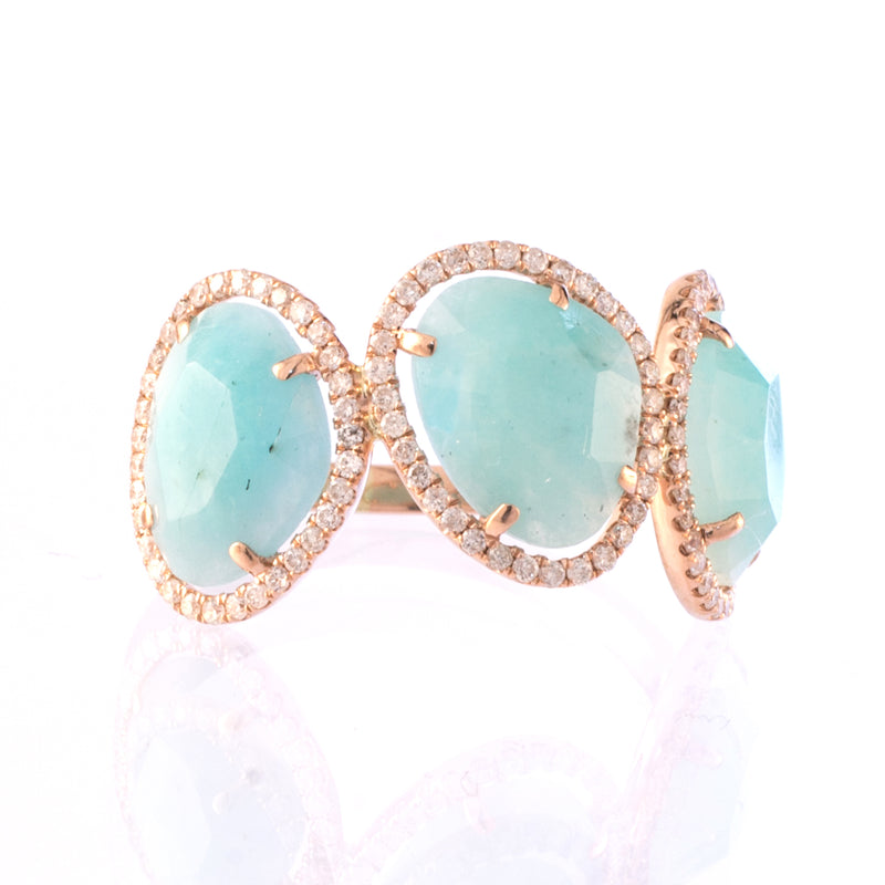 Rose Gold Amazonite Diamond Ring