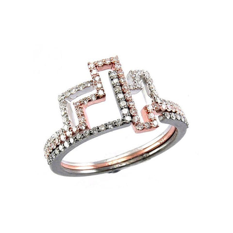 Meira T Diamond Multi-Gold Color Puzzle Ring