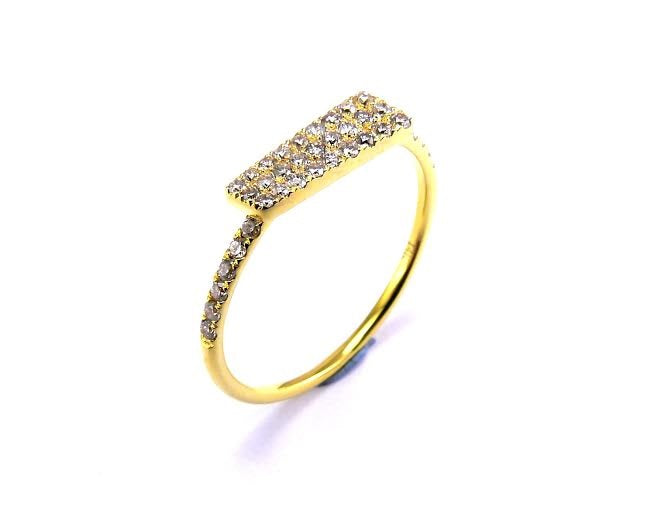 Yellow Gold Diamond Pave Stacking Ring