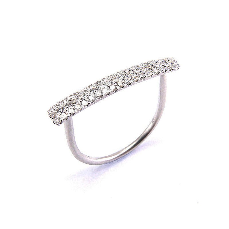 White Gold Pave Diamond Bar Ring