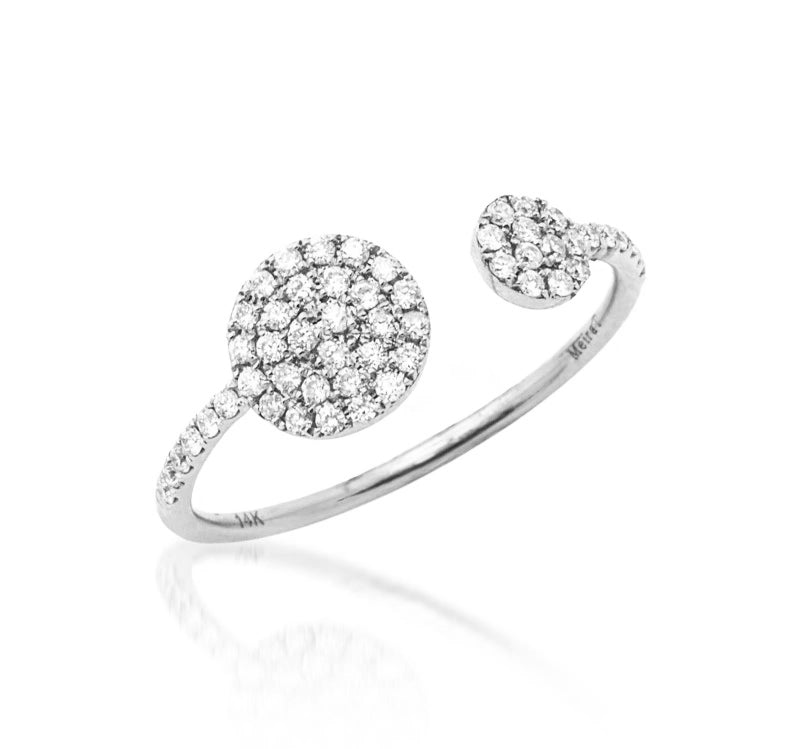 White Gold Diamond Disk Ring