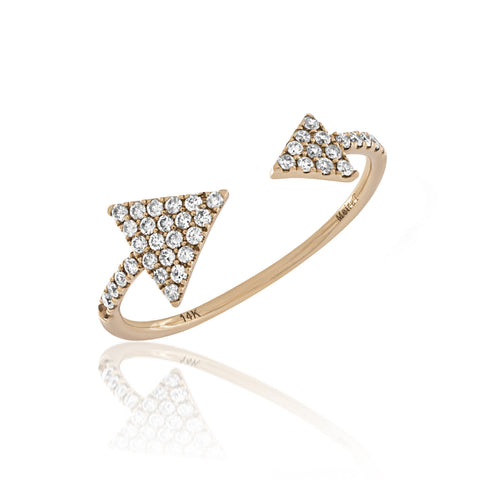 Pave Diamond Open Arrow Ring