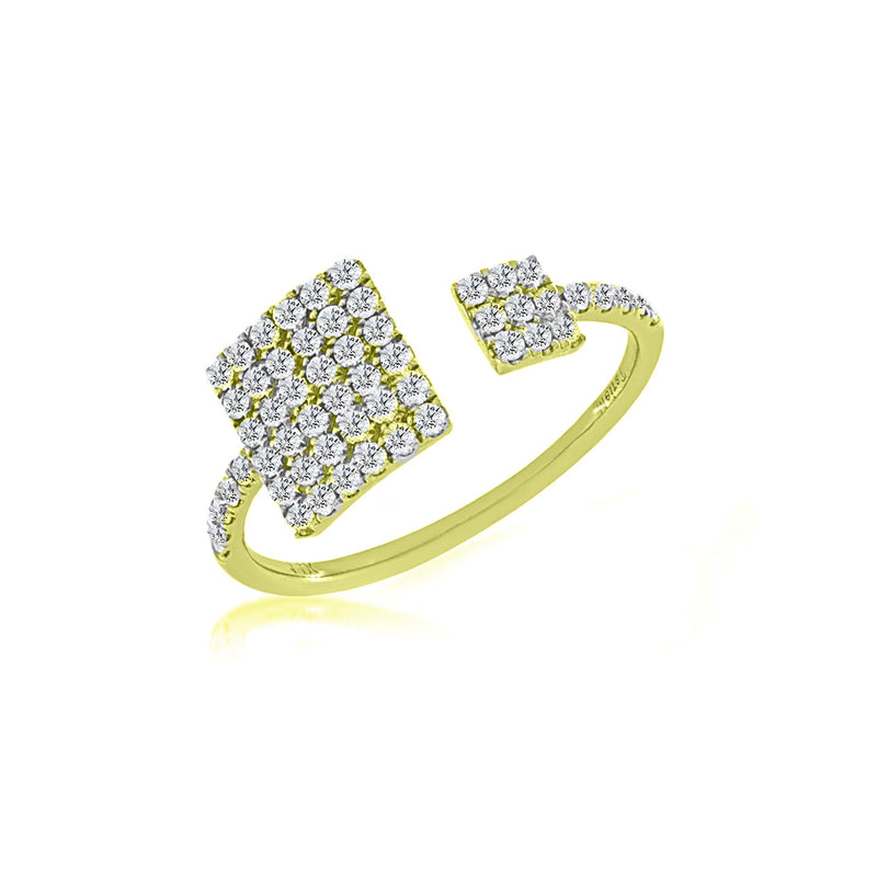 Pave Yellow Gold Square Ring