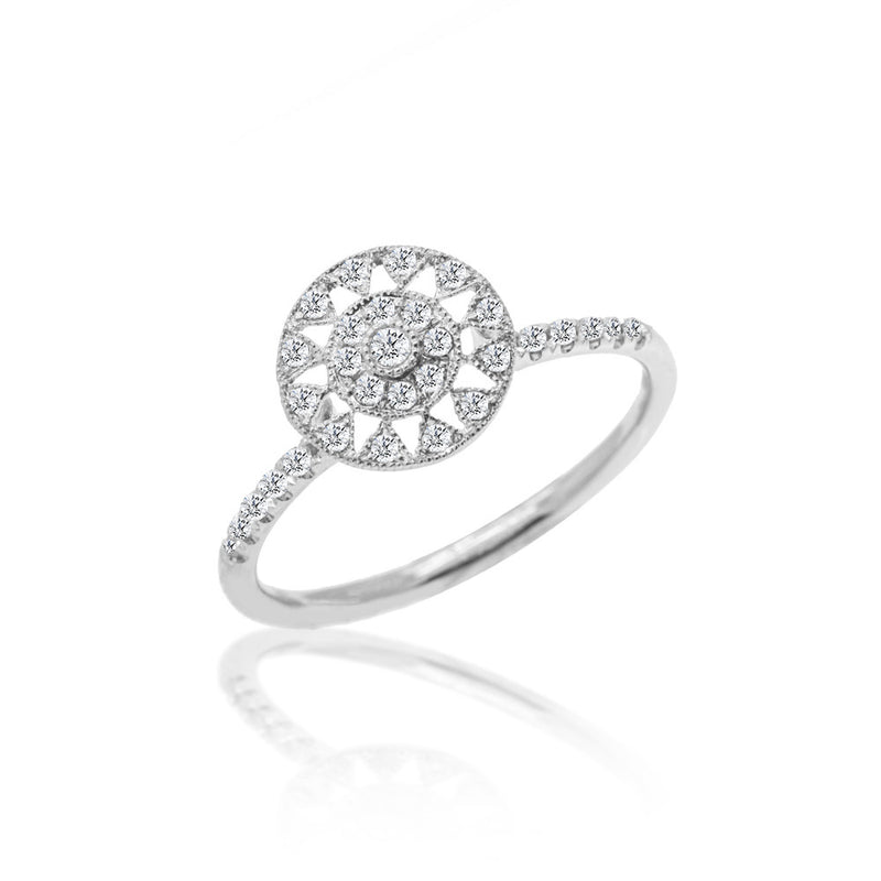 Diamond Sun Ring White Gold