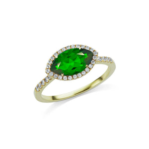 Green Chrome Marquise Ring