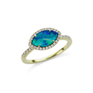 Australian Opal Ring with Diamond Border