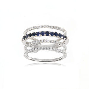 Blue Sapphire and Diamond Illusion Ring