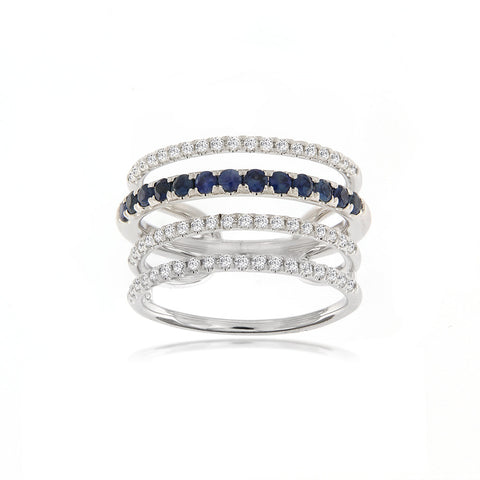 Diamond and Sapphire Illusion Ring