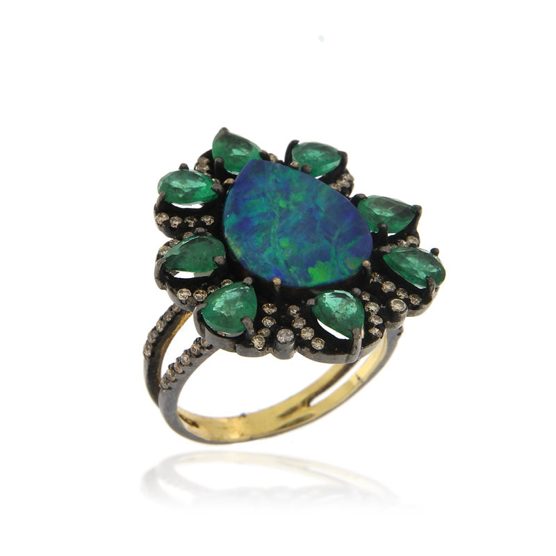 Opal Emerald Brown Diamond Flower Ring