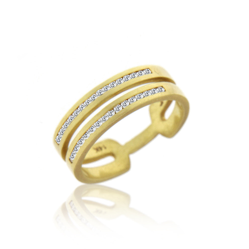 Textured Yellow Gold  Channel Set Double Band Ring