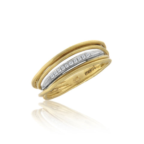 Yellow Gold Wire Ring with Diamonds