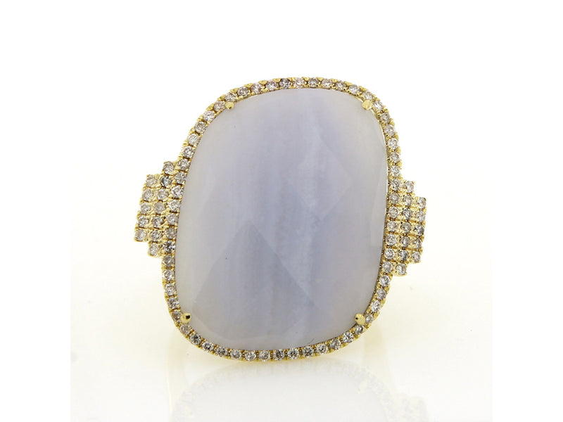Chalcedony Yellow Gold Diamond Ring