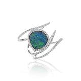 Opal Diamond Wave Ring