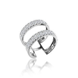 Diamond Encrusted Double Band Ring