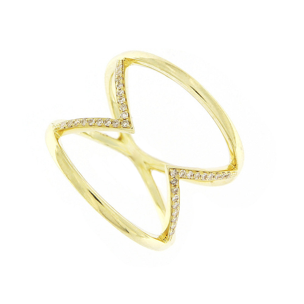 Geometric Yellow Gold and Diamond Ring LAST ONE