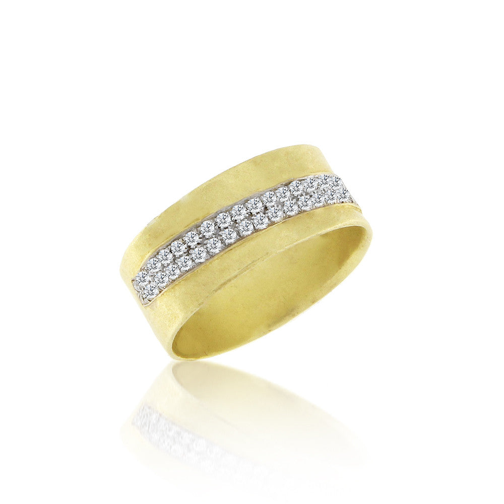 Brushed Gold and Diamonds Band