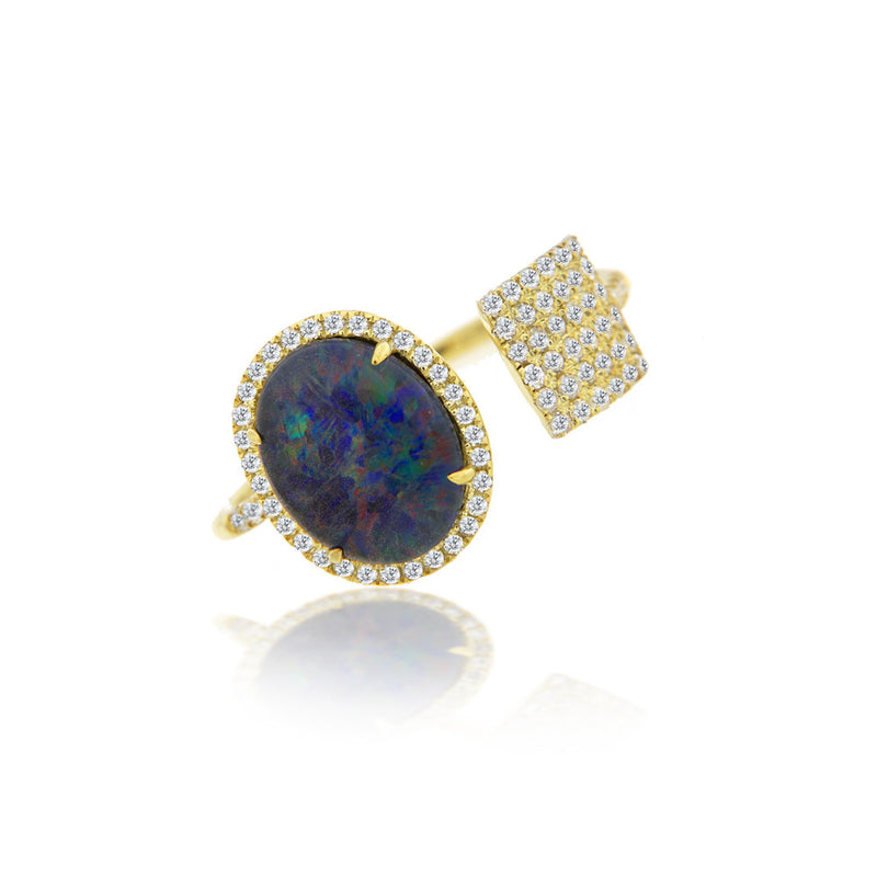 Opal and Diamond Ring with Pave Square Accent
