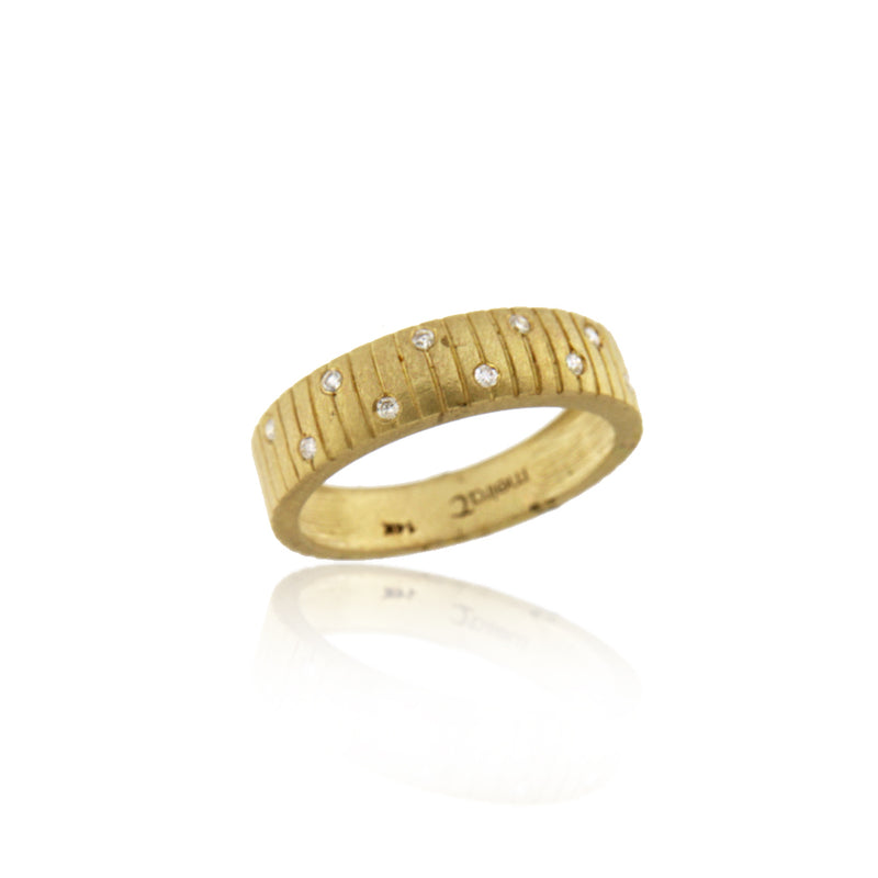Brush Gold Diamond Band