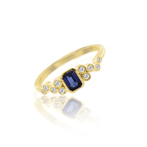 Satin Gold Blue Sapphire Ring