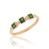 14k Rose Gold, Emerald and Diamond Ring