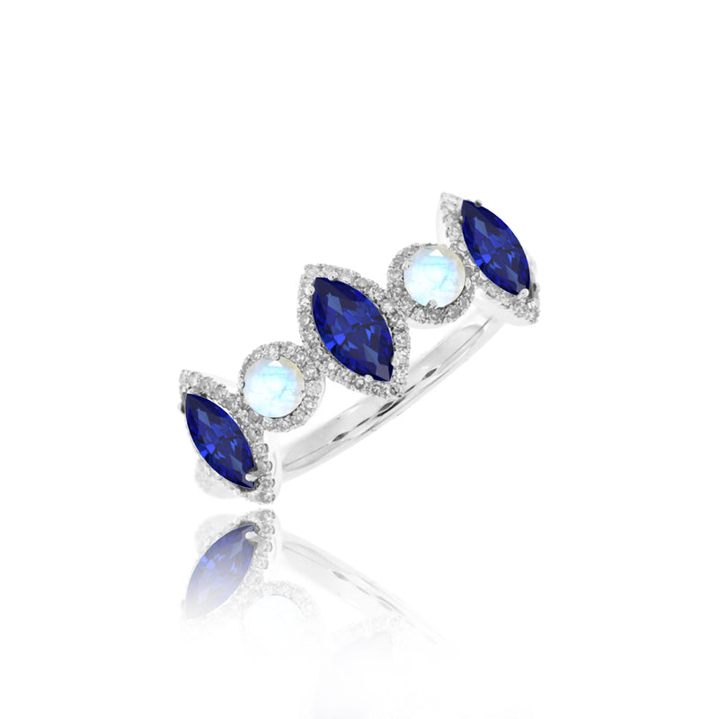 Blue Sapphire and Moonstone Ring