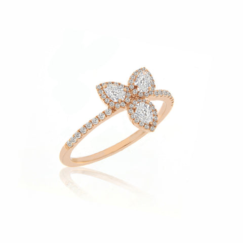 Rose Gold Petal Diamond Ring
