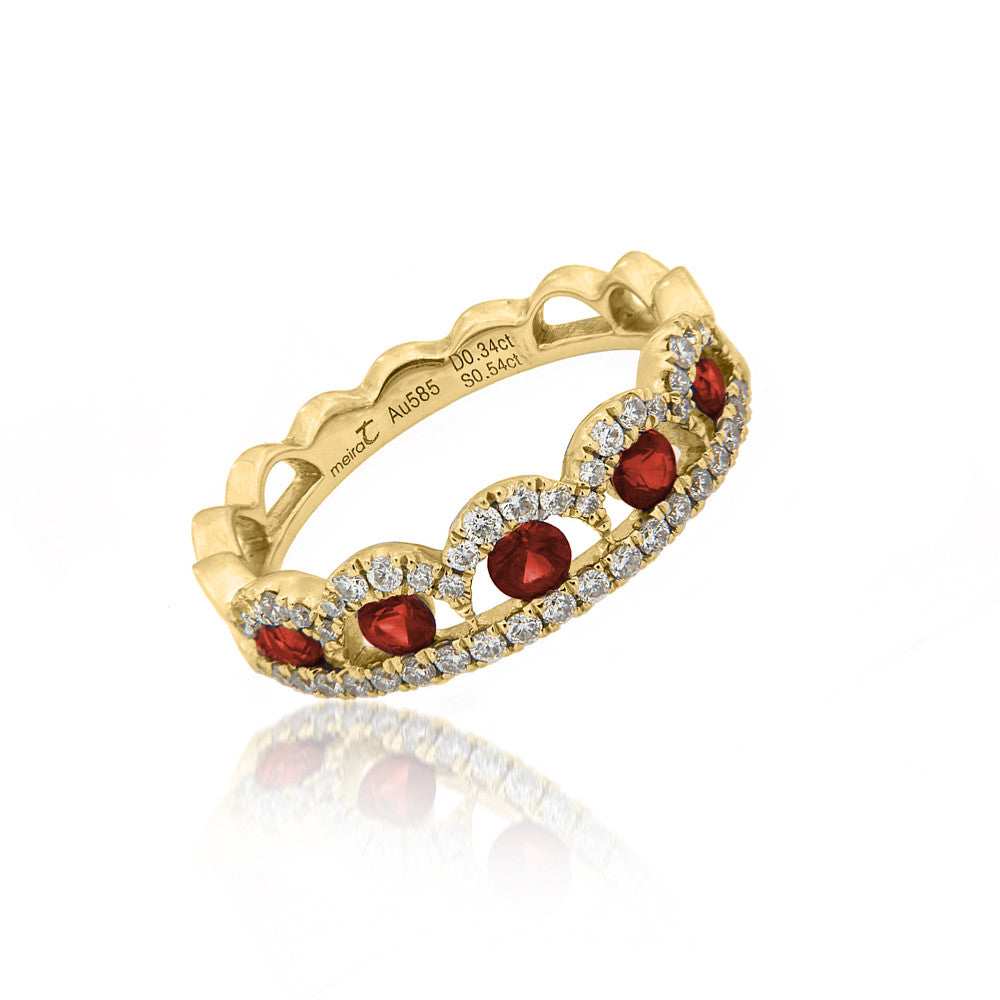 Ruby and Diamonds Crown Ring