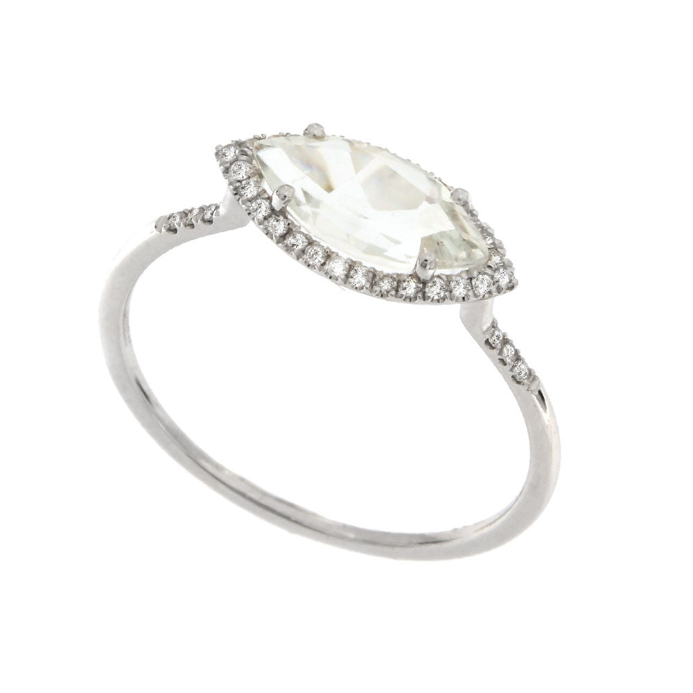 White Gold Topaz Diamond Ring