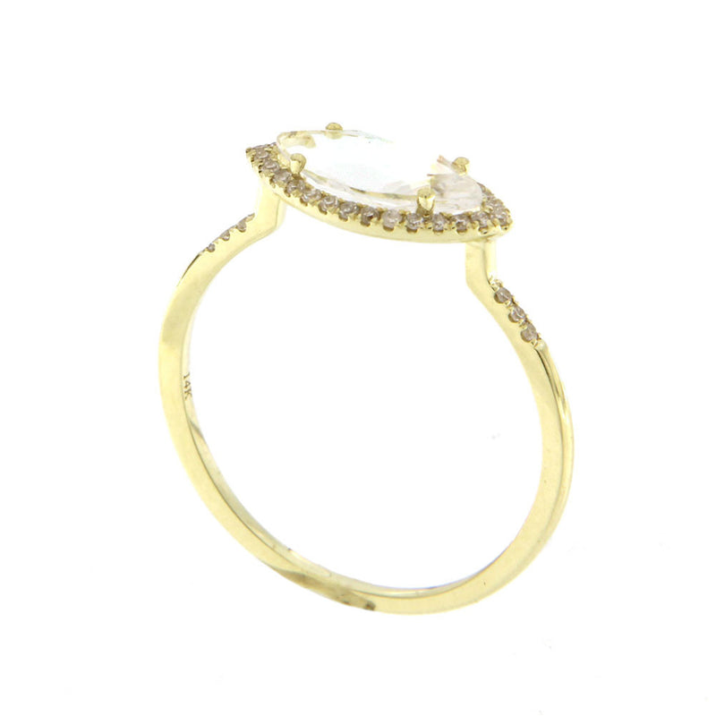 White Topaz Gold Marquise Diamond Ring