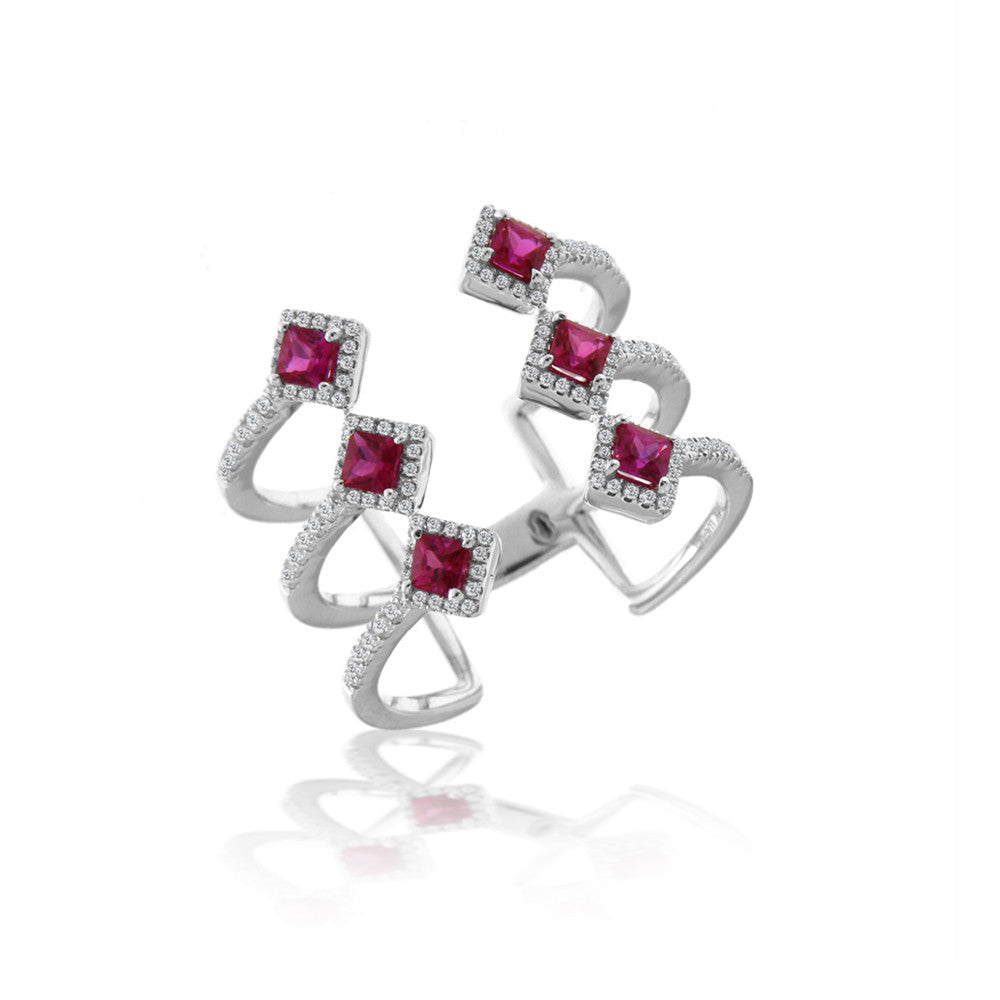 Ruby Triplet Diamond Ring