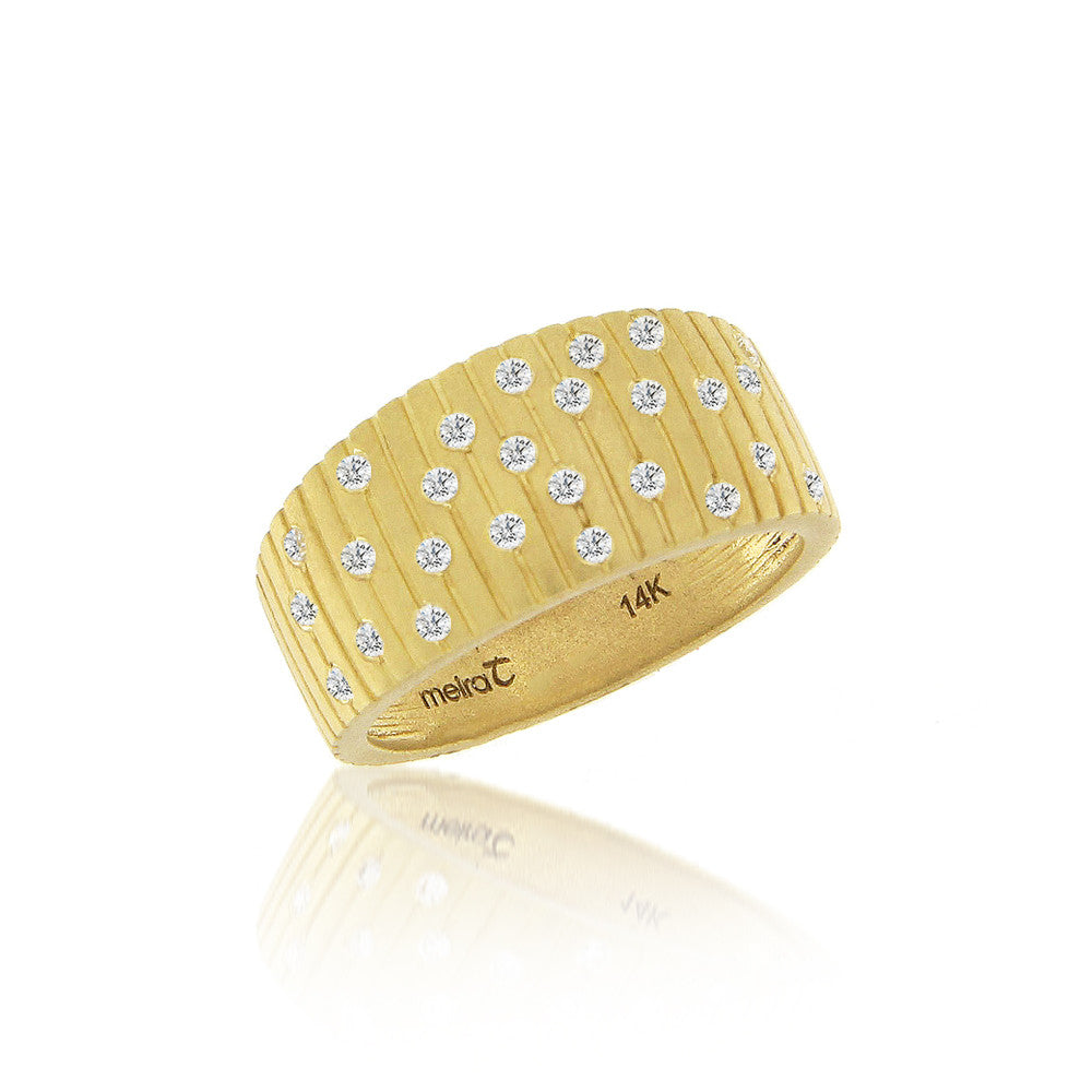 Brushed Gold and Diamonds Ring
