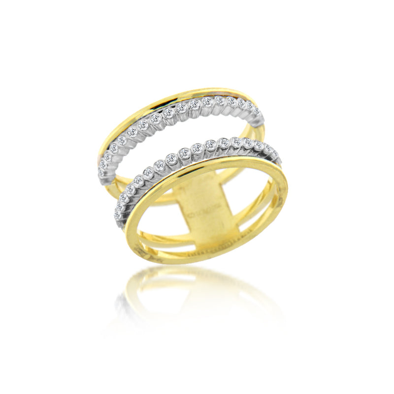 Yellow Gold and Diamond Double Ring