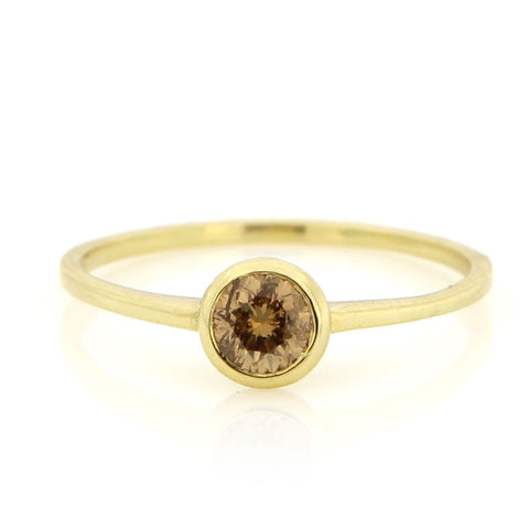 Meira T Champagne Diamond Yellow Gold Ring