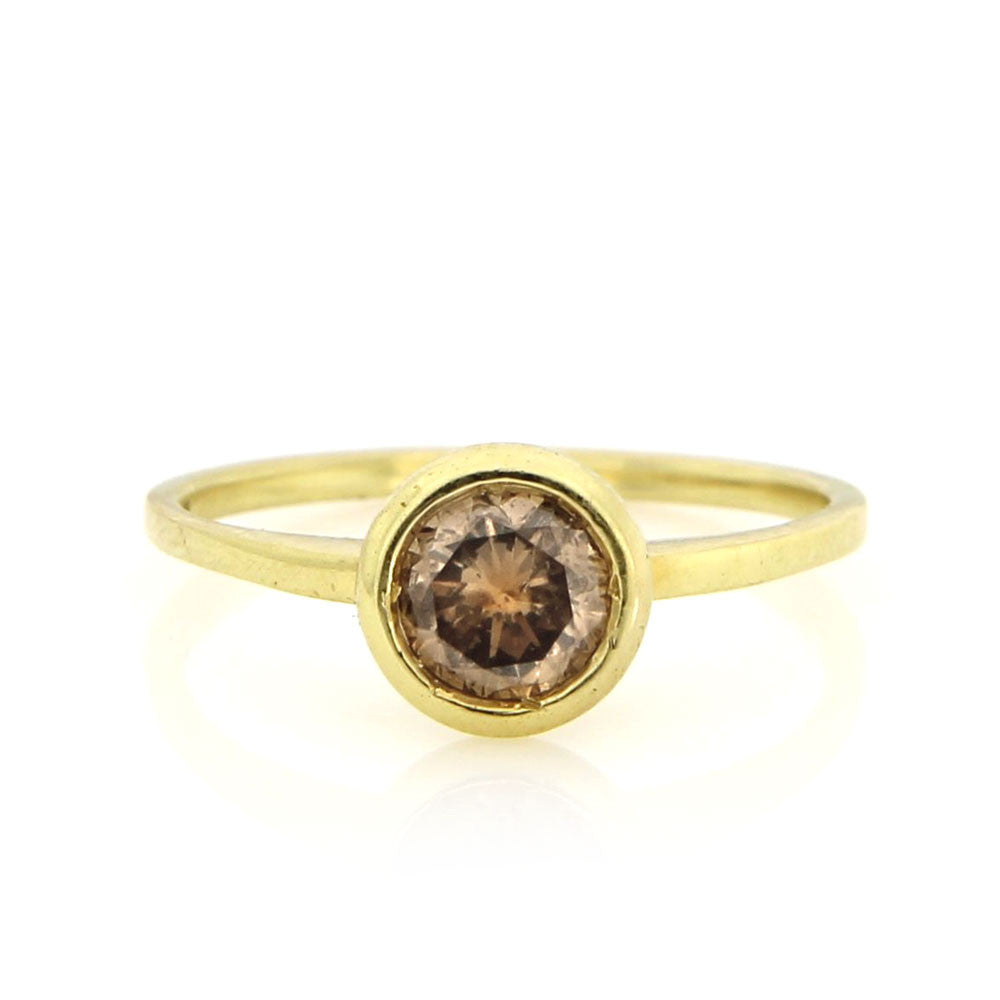 Meira T Yellow Gold Champagne Diamond Ring