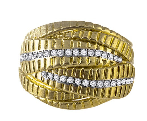 Yellow Gold Diamond Mesh Ring
