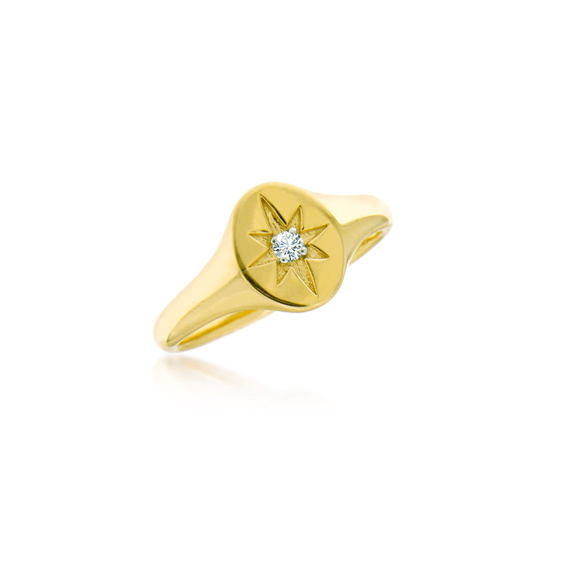 Yellow Gold Starburst Signet Ring