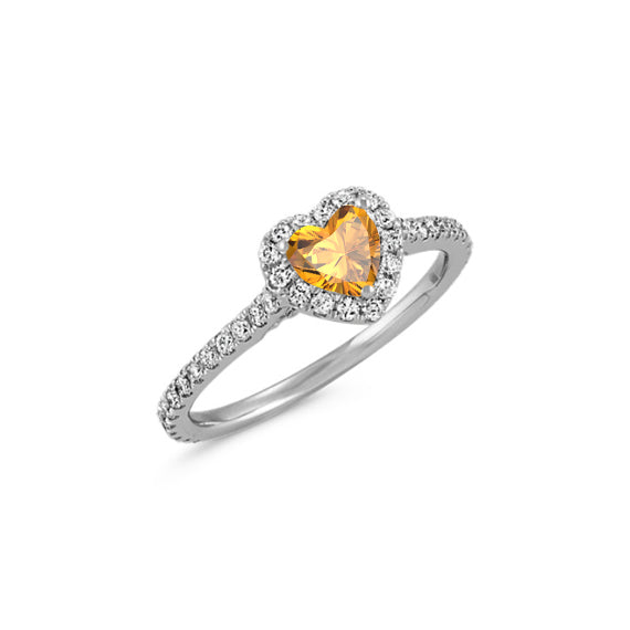 citrine heart shaped ring