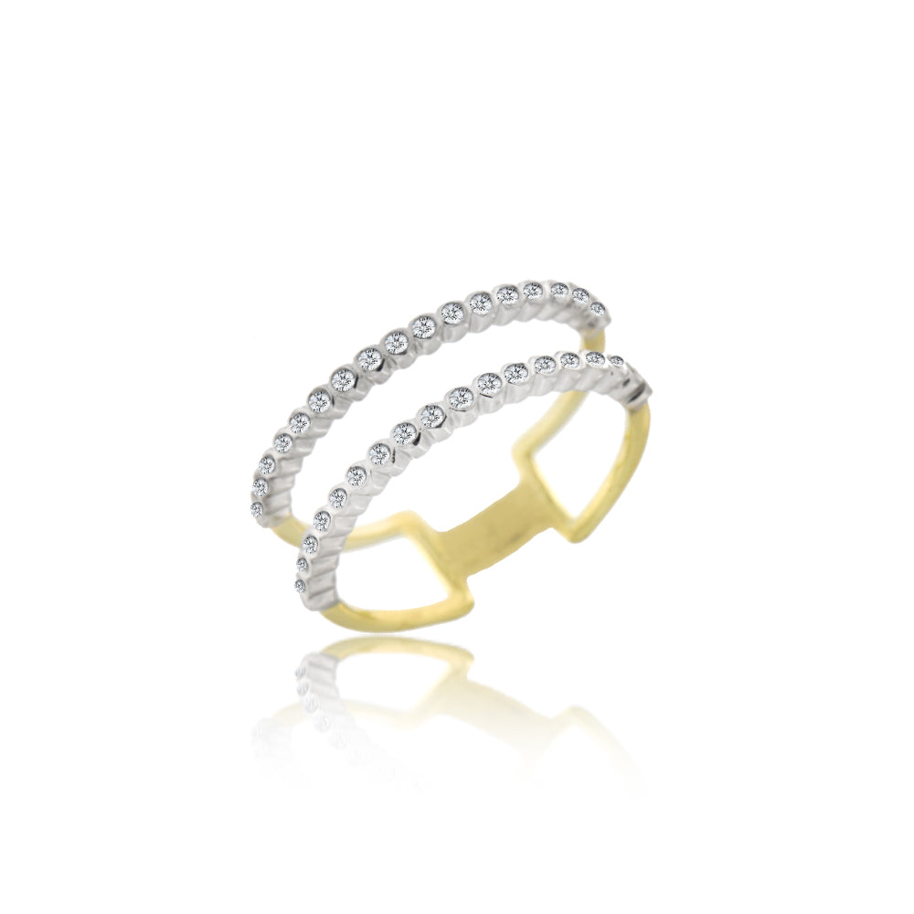 Brushed Gold Double Diamond Ring