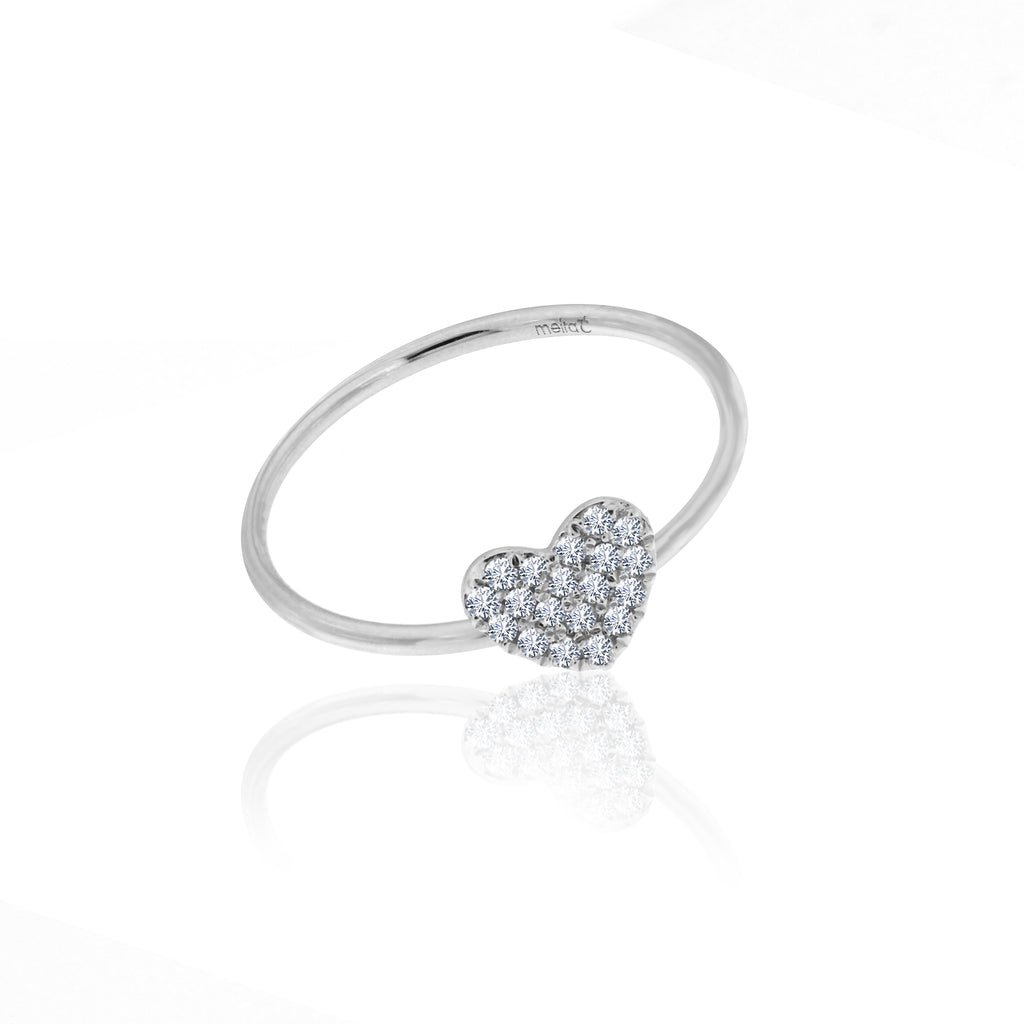 diamond heart ring 14k white gold