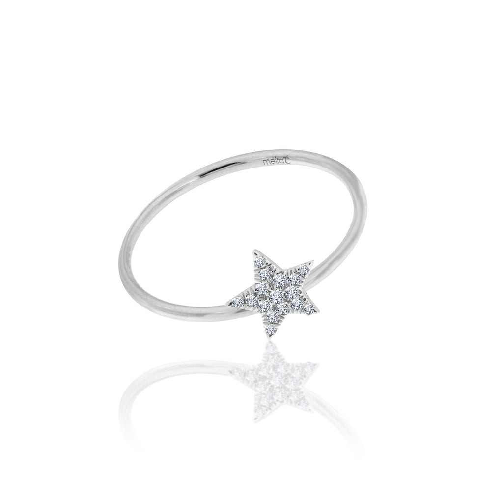 diamond star ring white gold