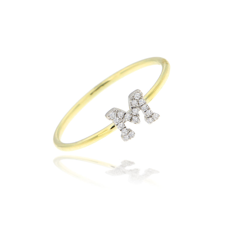 Yellow Gold Initial Ring