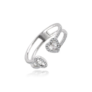 Diamond Heart and Oval Double Band Ring