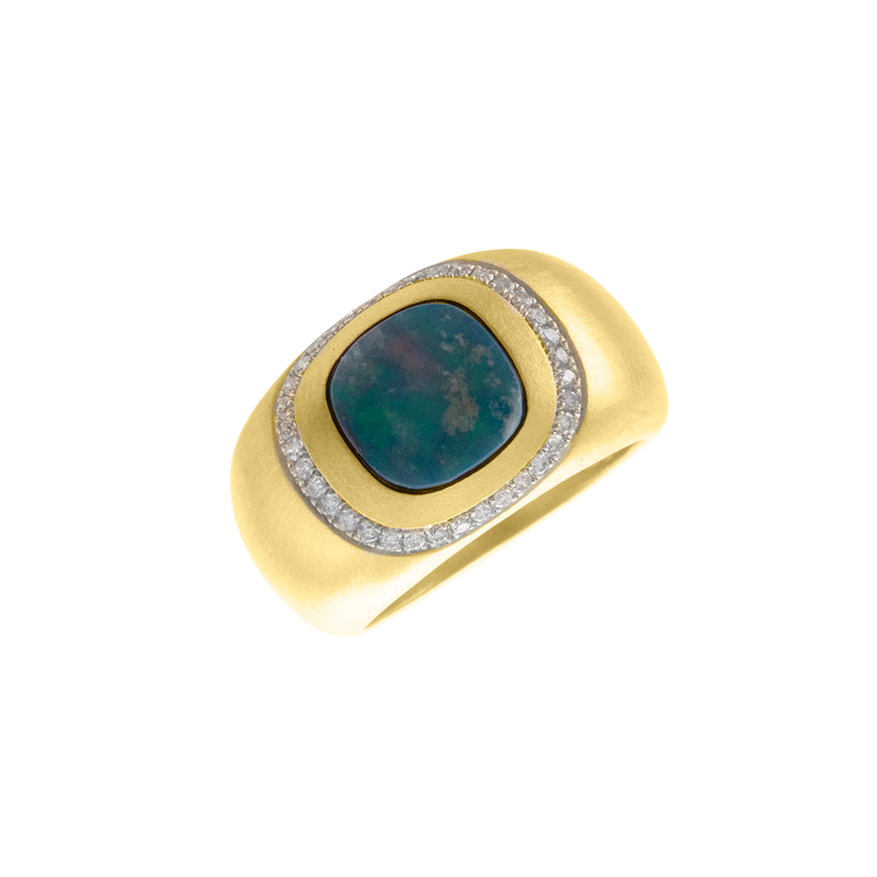 Opal Diamond Yellow Gold Ring