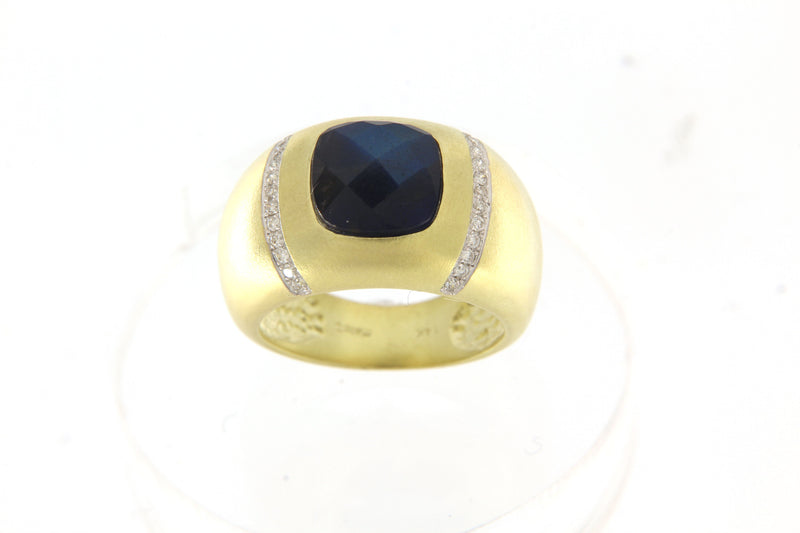 Blue Topaz Diamond Yellow Gold Ring