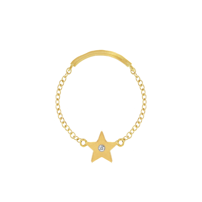 Gold Star Chain Ring