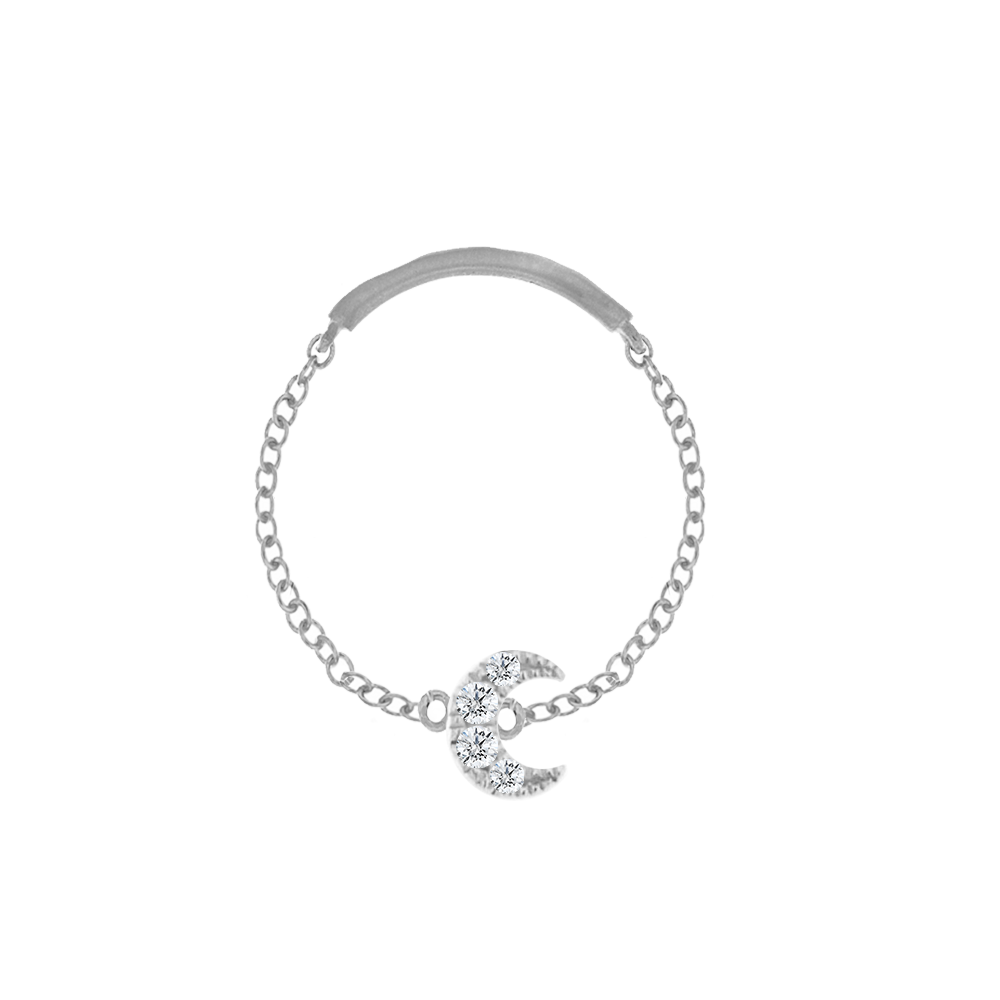 diamond moon chain ring