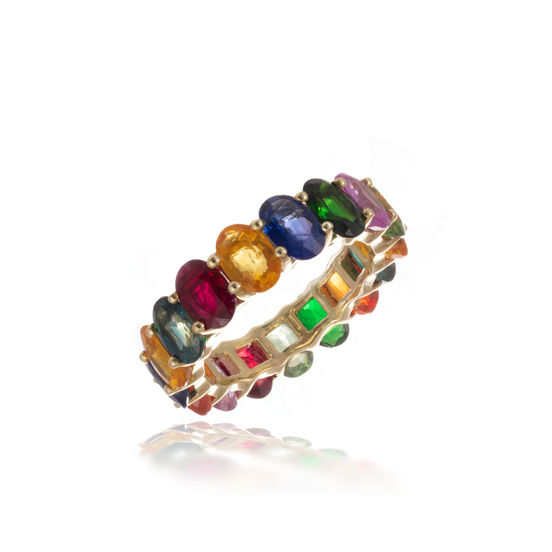 Multicolored Oval Ring